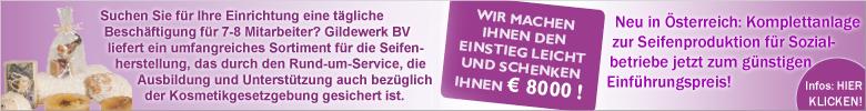 Gildewerk BV - Jetzt neu in Österreich! - Komplettanlage zur Seifenproduktion für Sozialbetriebe. Das Seifen-Qualitätssystem von Gildewerk zum günstigen Einführungspreis! - Wir machen Ihnen den Einstieg leicht und schenken Ihnen € 8000! [Mehr Infos - hier klicken!]