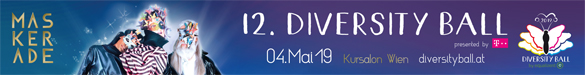 Der 12. Diversity Ball findet am Samstag, 4. Mai 2019 im Kursalon Wien unter dem Motto MASKERADE - Be what you want to be statt Mehr Infos - hier klicken!