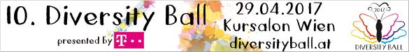Der 10. Diversity Ball findet am Samstag, 29. April 2017 im Kursalon Wien unter dem Motto Heimat bist du großer Vielfalt statt. Mehr Infos: Hier klicken!