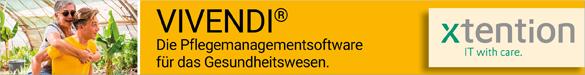 x-tention Informationstechnologie GmbH Vivendi® Pflegemanagementsoftware für das Gesundheitswesen Vivendi® ist die umfassende Softwarelösung für das Management aller Arten von Einrichtungen im Gesundheits- und Sozialwesen. x-tention ist IT-Komplettlösungsanbieter im Gesundheits- und Sozialbereich und verfügt über eine breite fachliche und technische Expertise. [mehr Infos hier klicken…]