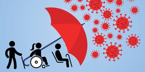 Bildmontage Behinderte Menschen werden von einem Schirm vor Viren geschützt
