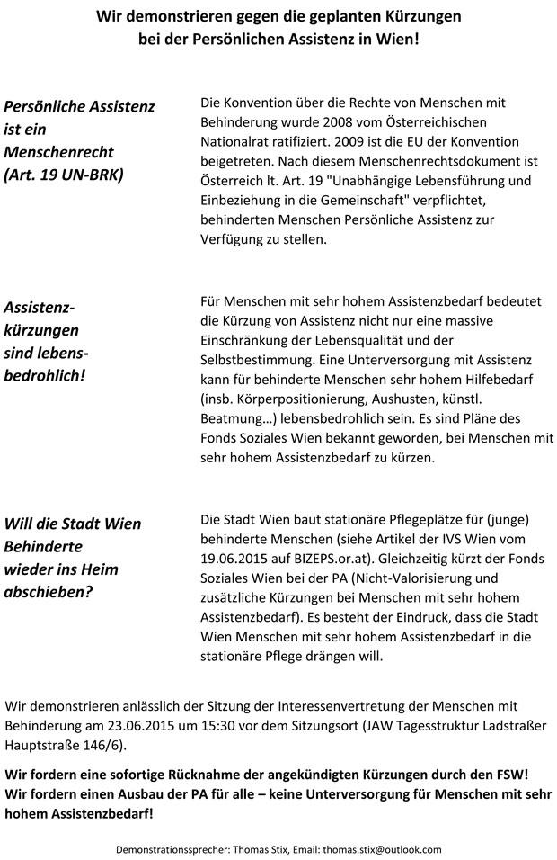 Demo IVMB 23.06.2015 Flugblatt