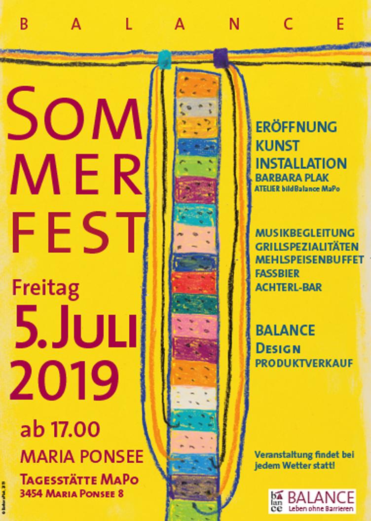 Das traditionelle BALANCE Sommerfest findet am Freitag, 5. Juli 2019 Jahr am Standort der Tagesstätte MaPo in Maria Ponsee statt.