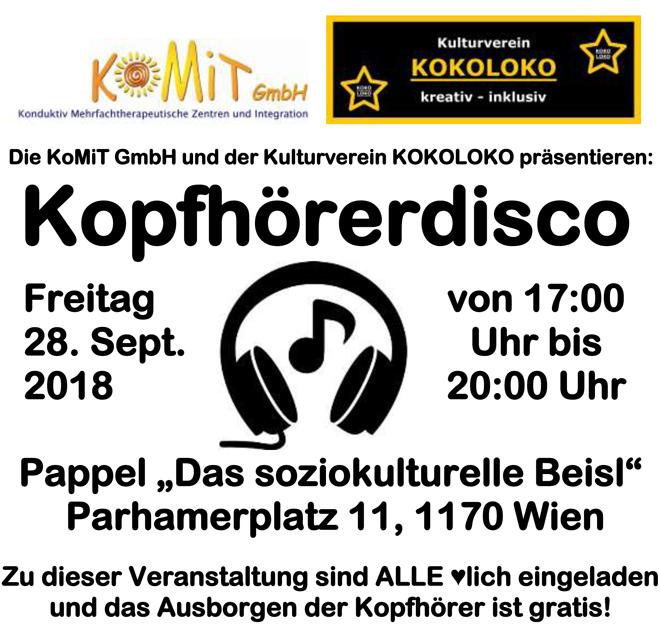 """Die KoMiT GmbH und der Kulturverein KOKOLOKO veranstalten am Freitag den 28. September eine Kopfhörerdisco, zu der ALLE herzlich eingeladen sind. Das Ausborgen der Kopfhörer ist gratis, für Speis und Trank sorgt zu günstigen Preisen unser Beisl """"Pappel"""". Wir freuen uns auf euer zahlreiches Kommen :-)"""