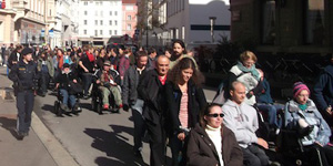 Demo der SelbstvertreterInnen in Innsbruck