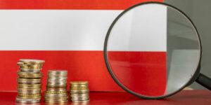 Vergrößerung von Glas und Münzen vor der österreichischen Flagge, Konzept der Landeswirtschaft