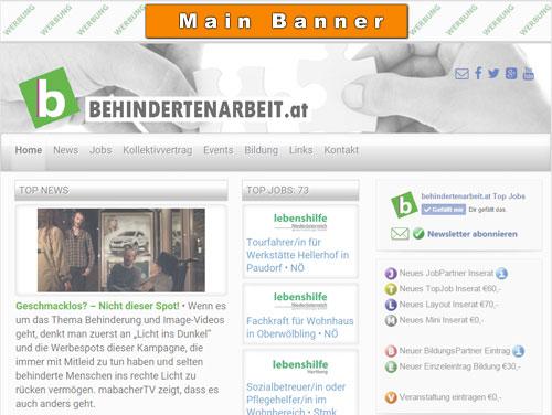 Positionierung Werbebanner Main Banner