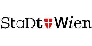 """Das Logo der Stadt Wien. Der Schriftzug """"Stadt Wien"""" besteht aus Buchstaben unterschiedlicher Schriftarten. In der Mitte befindet sich das Wappen der Stadt Wien."""