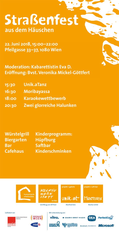 15:30 Unik.aTanz 16:30 Moribayassa 18:00 Karaokewettbewerb 20:30 Zwei glorreiche Halunken Würstelgrill Kinderprogramm: Biergarten Hüpfburg Bar Saftbar Cafehaus Kinderschminken